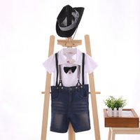 Cheap 2015 Summer Collection 3 Pcs Set Children Boys Gentle Suit,Cap+T-Shirt+Shorts,Short Sleeve With Bow Tie Shirt And Suspender Jeans,5 Set Lot