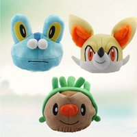 Wholesale Anime Pokemon Soft Plush Hats Adults Children Stuffed Winter Warm Style Beanies Braixen Froakie Chespin Pocket Monsters Cosplay Hat PM0112