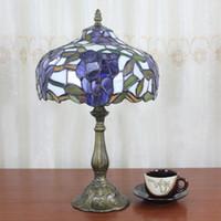 Wholesale European Vintage Bedside Lamp Tiffany Arts Glass Purple Wisteria Table Lamp Bedroom Purple Tiffany Lamp Dia30cm