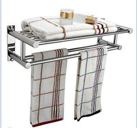 bathroom towel shelf - Details about Double Chrome Wall Mounted Bathroom Towel Rail Holder Storage Rack Shelf Bar