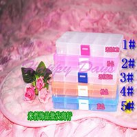 Wholesale Via Fedex EMS Empty Compartment Plastic Clear Storage Box For Jewelry Nail Art Container Sundries Organizer