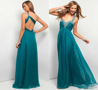 Cheap 2015 Hot Sale Peacock Chiffon Long Prom Dresses Under 100 Beading Ruched Bodice One Shoulder Homecoming Dress