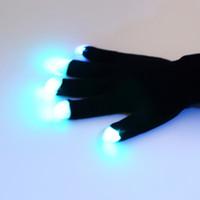 Wholesale 1pair Mode LED Gloves Rave Light Finger Lighting Flashing Glow Mittens black Free Drop Shipping Newest