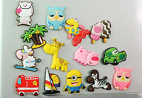 Wholesale Cute Flexible glue Animals Tree Cars Zebra Sheep Owl Fridge Magnets Home Decoration Animal Gel refrigerator magnets FreeDHL E454L