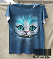 alice short - New Retro T shirt Top Tee Smile Ghost Cheshire Cat Alice Alice s Adventure in Wonderland