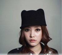 adult woolen cloth - 2015 Autumn winter fashion Fedora Equestrian Cat ears Wool Hat Felt Hat Girl Lovely Comfortable Woolen Cloth Hat Cap AL M17