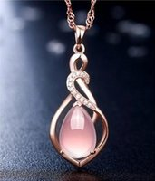 Wholesale HOT SALE women Exquisite nacklace Rose gold plate pink pendant necklaces luxury brand new charm necklace top grade