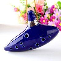 Wholesale 1 High Quilty Ceramic Ocarina of Time Hole Flute Triforce Blue