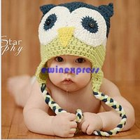 Cheap 2015 New Handmade Toddler Baby Owls Beanie Crochet Knit Woolly Cap Earflap Hat Good Quality Free Shipping