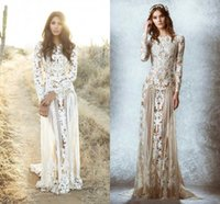country wedding dresses - 2015 Zuhair Murad Lace Vintage Wedding Dresses Custom Made Long Sleeves Court Train Beach Country Wedding Dresses Crew A line Stunning Lace