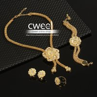 Wholesale ewelry supplies ring African Beads Jewelry Sets Wedding Dress Accessories Costume Women Party Gold Plated Crystal indian Necklace Bangle