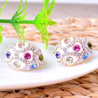 genuine diamond earrings - Aier Ya genuine diamond earrings earrings mature Korean factory direct low cost mixed batch of color retention