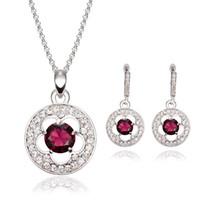 amethyst gold jewellery - Creative Natural Gemstone Jewelry Sets Fashion Necklace Earrings Set Bridal Jewellery Set Diamond Alloy Jewelry