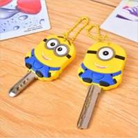key caps - 2015 New D Cartoon Despicable Me Minion key cover Cute Keychains Owl Stitch Cap Keyring Soft Silicon Rubbler Gel Keys Covers
