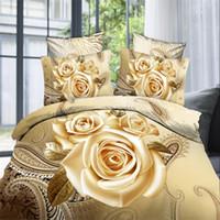 achat en gros de reine housse de couette shams-Literie 3D Set Rose Impression Coton Literie Drap Housse De Lit Queen Size 4 Pièces Housse De Couette Pillow Shams