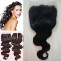 Wholesale Human Hair A hair body wave lace closure bleached knots middle free part closure cheap lace frontal closure