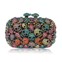 skull purses - Brand New Vintage Candy Color Women Evening Clutch Bags Fashion SKULL Crystal Evening Bag Crossbody Party Smart Phone Clutches Purse