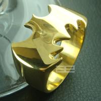 South American batman symbols - Men s Batman K gold Stainless Steel Cutout Bat Symbol Ring R126 SZ10