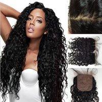 Cheap Brazilian Silk Base Closure Natural Wave,Unprocessed Virgin Brazilian Hair 4x4 Silk Base Closure With Baby Hair,Silk Top Closure