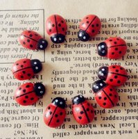 Wholesale Hot Sale pack About Cute Baby Fridge Sticker Red Mini Wooden Ladybug Shape Sponge Self adhesive Stickers IC870039