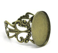 "Cheap Wholesale-Zinc metal alloy Adjustable Rings Oval Antique Bronze Cabochon Settings(Fits 18mm x 13mm )18.3mm(6 8"")(US)1 Piece 2015 new"