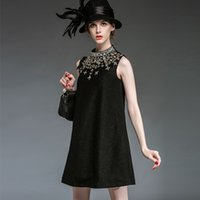 adult woolen cloth - QEJIN NEW STYLE WOMEN S FLARE DRESSES MOTHER S DRESSES DIAMONDS EMBROIDERY SLEEVELESS AUTUMN WOOLEN DRESSES WOMEN CLOTH
