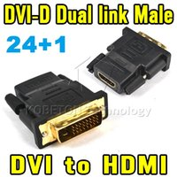 Wholesale 2015 Hot Sell P DVI Male To HDMI Female Adapter Converter V1 DVI D Dual Link For Xbox360 One For PS3 PS4 HDTV
