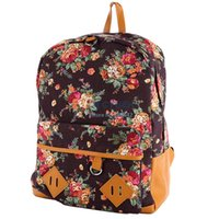Wholesale Canvas Backpack College New Fashion Girls School Bag Flowers Women Rucksack Schoolbag