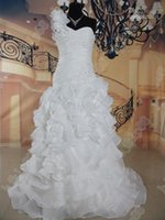 Cheap Real Photos New One-shoulder layers Organza Wedding Dresses Sweetheart Wedding Dress 2015 Bridal Gown Chapel train