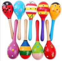 maracas - mixed colour Intelligent Mini sand hammer Baby Wooden Toy Rattle Cute Mini Baby maracas