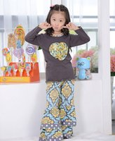 childrens wear - Adorable Cotton Childrens Clothing Kids Wear Grey Top With Colorful Pant Heart Applique set