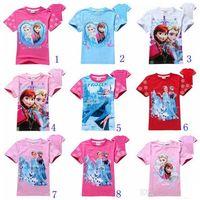 Cheap 30pcs 19 styles children T-shirts girls cotton shirts Elsa Anna printed cute baby girl t shirt summer kids tops child tees 2 3 4 5 6 7 8T