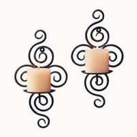 Wholesale 1Pcs Handmade Iron Hanging Wall Sconce Candle Holder Shelf Furnishing Articles
