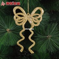 plastic christmas tree ornaments - Christmas decorations cm aureate bowknot g plastic Christmas tree ornaments supplies natal snowflake crafts hanging