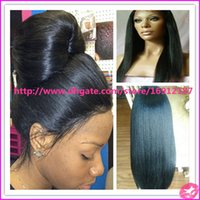 malaysian virgin hair lace wig - Malaysian Virgin Hair Yaki Lace Wig Unprocessed Human Hair Light Yaki Full Lace Wig Yaki Human Hair Lace Front Wig For Black Women