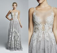 Wholesale Sheer Prom Dresses Elie Saab Long Length A Line Spaghetti Straps Evening Dress Sexy Appliques V Neck Formal Party Dress Plus Size