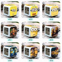 Wholesale Minions LED Colors Digital Alarm Clock despicable me Thermometer Night light electronic toys cartoon kid toys Christmas gift