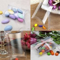 Cheap 50Pieces lot Exquisite packing box Clear Pillow Shape Wedding Favor Gift Box New Transparent Party Candy Bag Wholesales