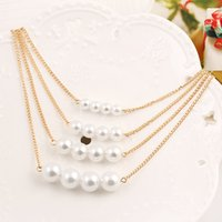 pearl choker necklace - New Fashion Gold Multilayer Pearl Choker Chunky Collar Statement Chain Necklace For Women