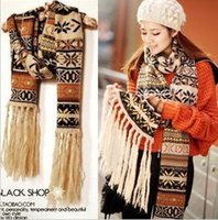 beauty check - F041 snowflake national wind bohemian scarves ladies wool fringed scarves spell color sweet beauty