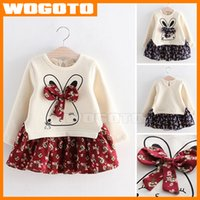 Conejo floral Empalme Princess Dress Fashion Girls floral Empalme Bowknot de la falda de algodón puro de manga larga de vestir ropa de los niños