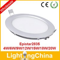 Wholesale Fedex LED Panel Lights W W W W W Epistar SMD2835 Round Square AC86 V Recessed Lamp Downlights