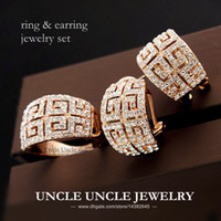 Wholesale Fashionable K Rose Gold Plated Retro Rome Style Austrian Crystal G Design Luxury Lady Jewelry Set Earring Ring KRGP