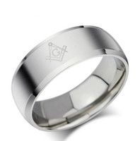 asian symbols - Fashion Simple Masonic Ring Stainless Steel Silver Wedding Band with Masonic Symbol for Men and Women