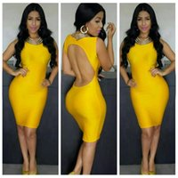 plus size bodycon - Fashion Sexy bandage bodycon dresses for women O Neck sleeveless backless hollow out bandage yellow party dress S M L plus size KF036