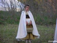 Wholesale 2016 Long Cape Hooded Ivory White Wedding Cloak Faux Fur Jacket Winter Kid Flower Girl Children little girls evening gowns Outerwear Coats