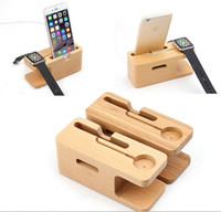 Wholesale 100 Wooden Bamboo Mobile Phone Charger Stand Holder Apple Iwatch Docking Power Charging Station Mounts DHL