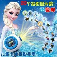 al por mayor venta al por mayor reloj proyector de dibujos animados-Creativo de la princesa de dibujos animados de la niña de dibujos animados niño 3D proyector mini juguetes electrónicos de relojes al por mayor