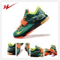 Cheap Drop Shipping Onemix Kevin Durant 7 VII KD Weatherman Men's Basketball Sport Shoes - Emerald Green Metallic Silver-Dark Emerald