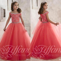 toddler pageant dresses - 2016 Sparkly Off The Shoulder Beaded Crystal Pageant Dresses for Teens Tulle Floor Length Lace up Back Girl Prom Dresses